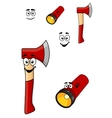 Red cartoon axe and torch flashlight vector image
