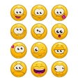 Funny cartoon yellow faces set vector image