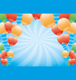 balloons on a blue background vector image vector image