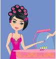 beautiful woman in beauty salon vector image