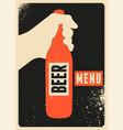 beer menu typographic vintage grunge style poster vector image vector image