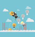 boss up the ladder light bulb with money vector image