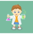 Boy doing chemical experiment Young scientist vector image vector image