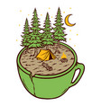 camping and cup vector image