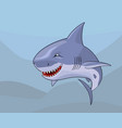 cartoon comic shark with malignant smile vector image