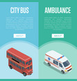 city transport logistics isometric vertical flyers vector image