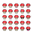 Collection of difference emoticon icon of mushroom vector image vector image