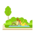 Couple Having Picnic On Grass Part Of People In vector image vector image