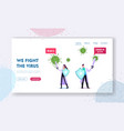 epidemiology landing page template tiny doctors vector image vector image