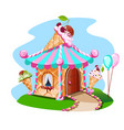 fairy house out of ice cream with cherries vector image