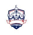 fitness spartan logo cartoon vector image vector image