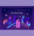 flat banner is written city never sleep isometric vector image vector image