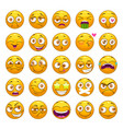 funny cartoon yellow faces set emoji face vector image