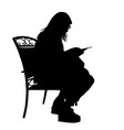 girl silhouette reading a book vector image