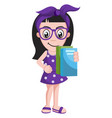 girl with books on white background vector image