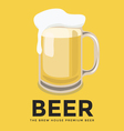 Glass of beer with foam on yellow background vector image vector image