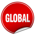 global round red sticker isolated on white vector image vector image