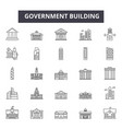 government building line icons for web and mobile vector image vector image