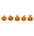 halloween pumpkin set with scared horror vector image