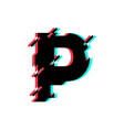 logo letter p glitch distortion diagonal vector image