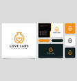 love lab logo design with business card design vector image