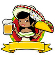 mexican woman with beer and taco vector image