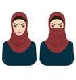 Muslim women in hijab and paranja vector image vector image