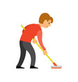 person play curling using broom isolated character vector image vector image