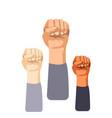 raised fist set vector image vector image