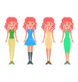 redhead girl in modern casual and elegant looks vector image vector image