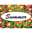 round frame isolated with summer flowers in vector image
