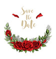 save the date postcard half wreath with red rose vector image