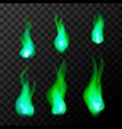 set of bright green magic fire flames vector image