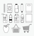 supermarket icons collection monochrome vector image