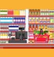 supermarket interior cashier counter workplace vector image