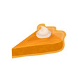 Triangular slice of pumpkin pie with whipped cream