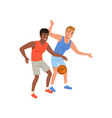 two guy playing in basketball active lifestyle vector image vector image