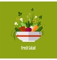 Vegetable salad healthy food diet flat style vector image