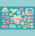 world blogger day follow me button set vector image vector image