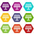 solar energy panel icon set color hexahedron vector image