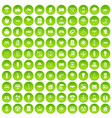 100 solar energy icons set green circle vector image vector image