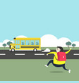 a boy running after a school bus vector image vector image