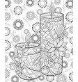 adult coloring bookpage the christmas candles vector image vector image
