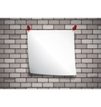 Background with note paper on a brick wall vector image vector image