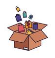 Cardboard box with gifts falling