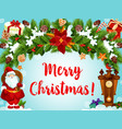 christmas wreath santa gifts greeting card vector image