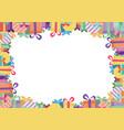 colorful ribbon gift box border white paper vector image