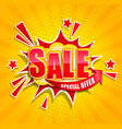 comic sale boom banner in retro pop art style vector image vector image