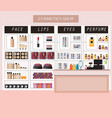 cosmetics store interior with products on shelves vector image vector image