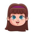 cute girl face cartoon vector image